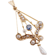 Antique Edwardian Sapphire & Pearl Lavaliere Pendant 14k Yellow Gold