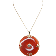 Vintage Red Jade Pi Disc Pendant 18k Yellow Gold