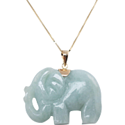 Vintage Jadeite Jade Carved Elephant Pendant 14k Yellow Gold Chain
