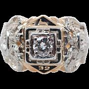 Vintage Mens .59CTW Diamond 32nd Degree Masonic Ring Yellow & White Gold