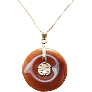 Vintage Orange Brown Jadeite Jade Disc Pendant 14k Yellow Gold