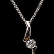 Vintage Estate Platinum Solitaire Diamond Pendant Necklace