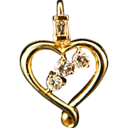 18k Yellow Gold Diamond Heart Pendant Necklace