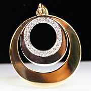 Vintage Double Circles Diamond Gold Pendant - 18k Yellow & White Gold