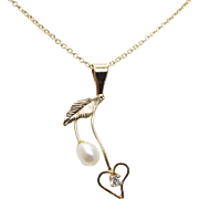Vintage Pearl & Cubic Zirconia Arrow Heart Pendant