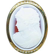 Vintage 14k Yellow Gold Sardonyx & Diamond Cameo Brooch