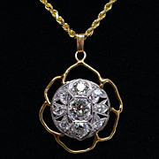 Vintage Platinum & 14k Yellow Gold 1.89cttw Old European Cut Diamond Pendant
