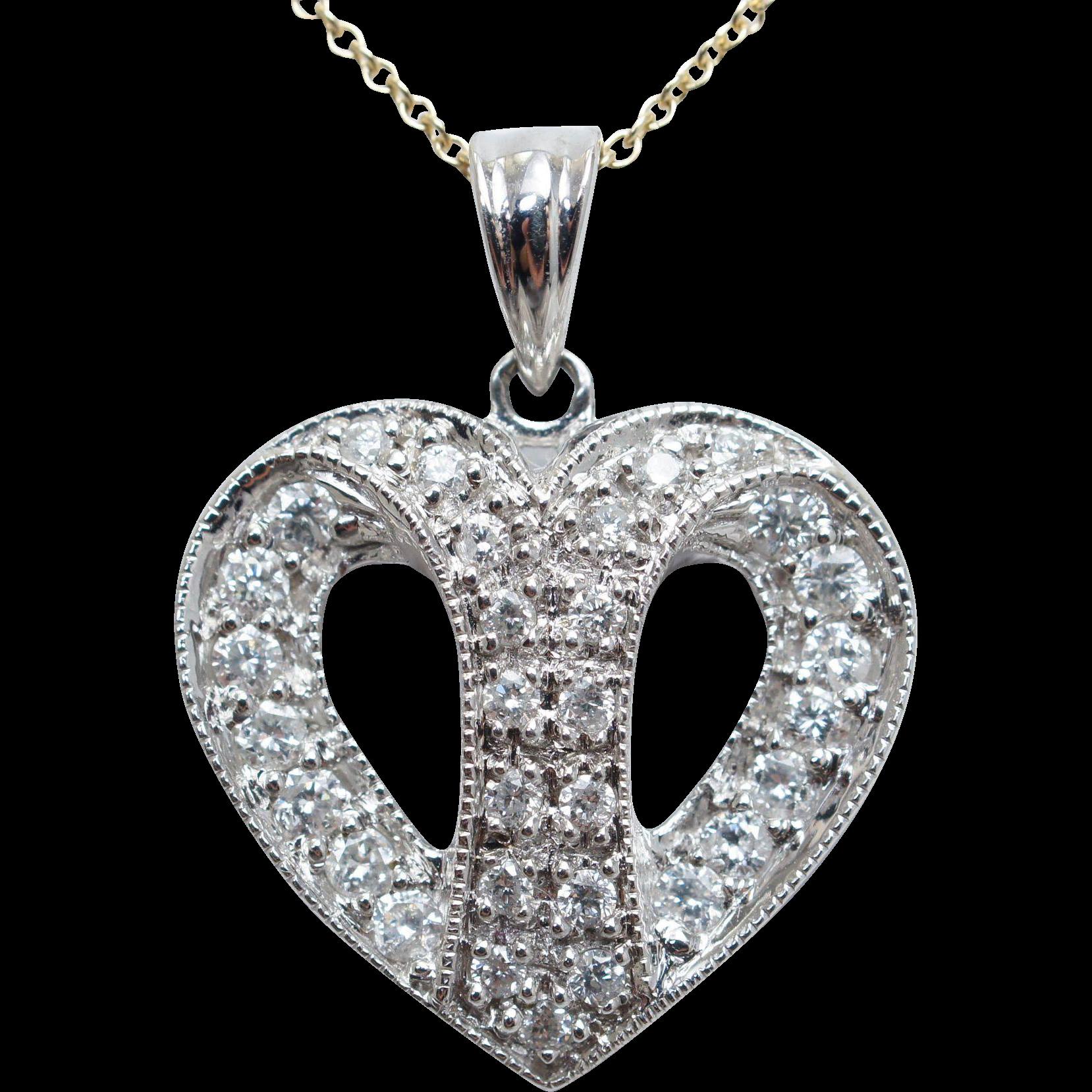 Diamond Split Heart Pendant Necklace 14k White Gold Dainty Heart