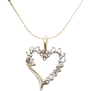 Vintage Diamond Open Heart Pendant in 10k Yellow Gold