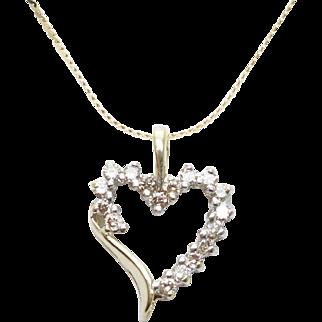 Vintage Diamond Open Heart Pendant in 10k Yellow Gold
