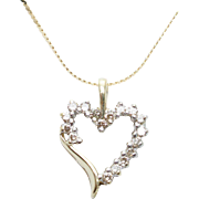 Diamond Open Heart Pendant in 10k Yellow Gold