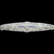 Vintage .51CTW Old European Cut Diamond 14k White Gold Bar Pin Brooch