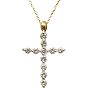 18k Yellow Gold .54ctw Diamond Cross Pendant Necklace