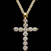 18k Yellow Gold .54ctw Diamond Cross Pendant Necklace