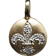 Vintage Diamond Fleur-De-Lis Pendant Charm in 14k Yellow Gold
