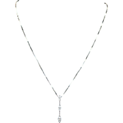 3 Marquise Diamond Dangle Pendant Necklace in 14k White Gold