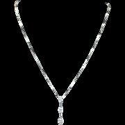 3 Marquise Diamond Dangle Pendant Necklace in 14k White Gold