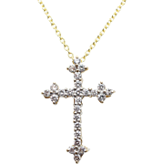 Beautiful .50CTW Diamond Cross Pendant Necklace Christian Jewelry