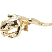 Vintage .14CTW Diamond Frog Pin Brooch in 14k Yellow Gold