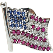 Vintage Sapphire, Ruby, & Diamond American Flag Pin Brooch in 14k White Gold