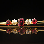 Antique Victorian Ruby and Diamond Pendant in 14k Yellow Gold