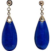 Vintage Pear Shape Lapis Lazuli Earrings - 14k Yellow Gold