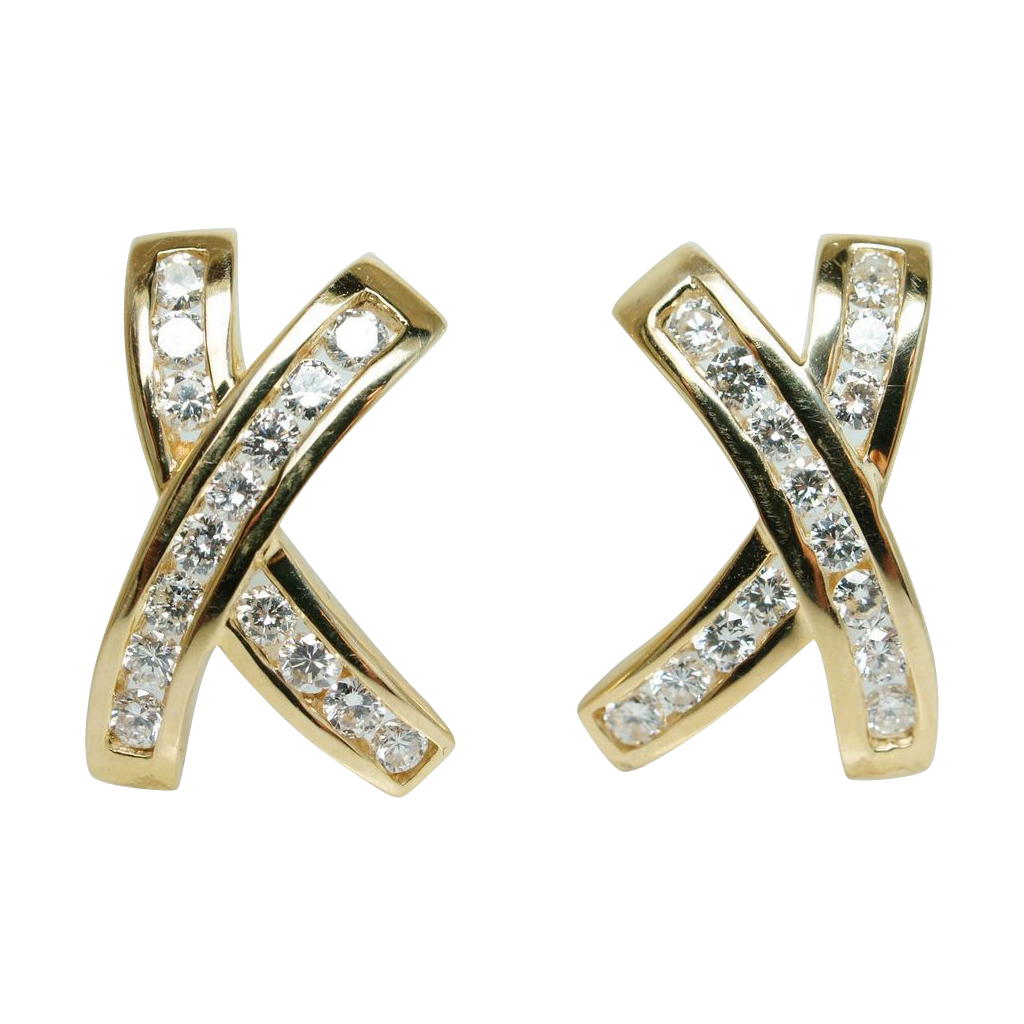 Vintage Natural Diamond X's Stud Earrings 14k Yellow Gold