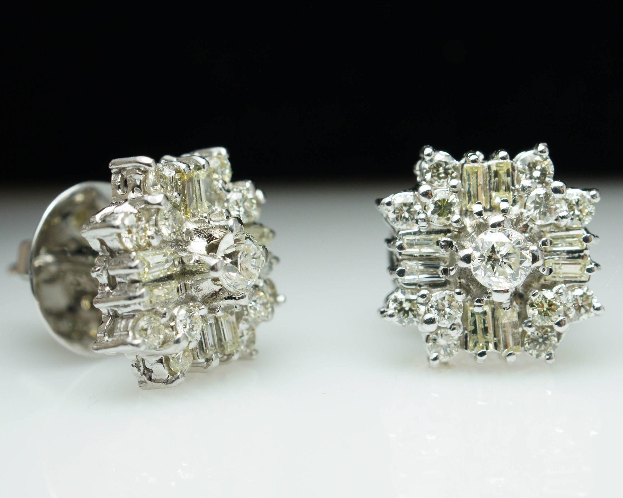 Vintage Round Baguette Cut Diamond Stud Earrings 1 49ctw 14k White