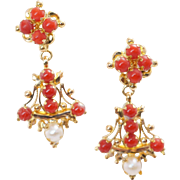 Vintage 2.32CTW Pearl & Coral Dangle Earrings 22k Yellow Gold