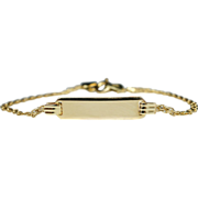 Vintage 14k Yellow Gold Child's ID Bracelet Children Jewelry - 5.25 Inch