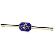 Vintage Enamel Masonic Bar Brooch in 14k Yellow Gold
