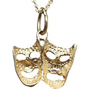 14k Yellow Gold Vintage Greek Theater Tragedy Mask Gold Pendant Theatre Pendant