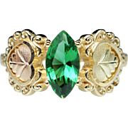 Vintage Glass Ring in 10k Tri-Color Yellow, Green, Rose Gold