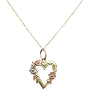 Vintage Yellow Gold with Rose & White Gold Rose Heart Pendant Floral Heart Border Mixed Metals
