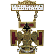 Vintage Albany Sovereign Consistory 32nd Degree Masonic Gold Plated Enamel Pin