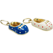 Vintage Blue & White Enamel Baby Shoe Charms with 14k Yellow Gold