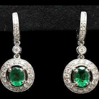 Natural Emerald Diamond Halo Huggie Hoop Earrings 18k White Gold