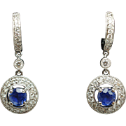 Natural Sapphire & Diamond Halo Huggie Dangle Earrings 18k White Gold