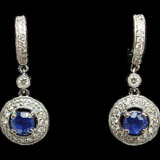 Natural Sapphire & Diamond Halo Huggie Dangle Earrings 18k White Gold