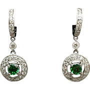 Tsavorite & Diamond Halo Dangle Earrings in 18k White Gold