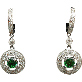 Tsavorite & Diamond Halo Dangle Earrings in 18k White Gold