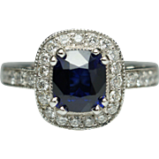 2.23CTW Natural Sapphire Diamond Halo Engagement Ring Cocktail Ring 14k White Gold