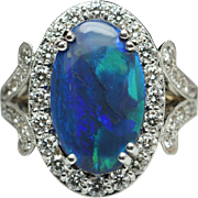 Oval Black Opal Diamond Halo Engagement Ring Cocktail Band