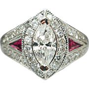 Vintage 2.40CTW Marquise Cut Diamond & Ruby Engagement Ring Cocktail Ring 18k White Gold