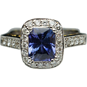 Beautiful 2.31CTW Radiant Cut Natural Sapphire Halo Engagement Ring 18k White & Yellow Gold