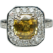 Natural 3.15CTW Cushion Cut Yellow Sapphire & Diamond Engagement Ring 18k White Gold