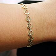 10k Yellow Gold Open Heart Link Bracelet