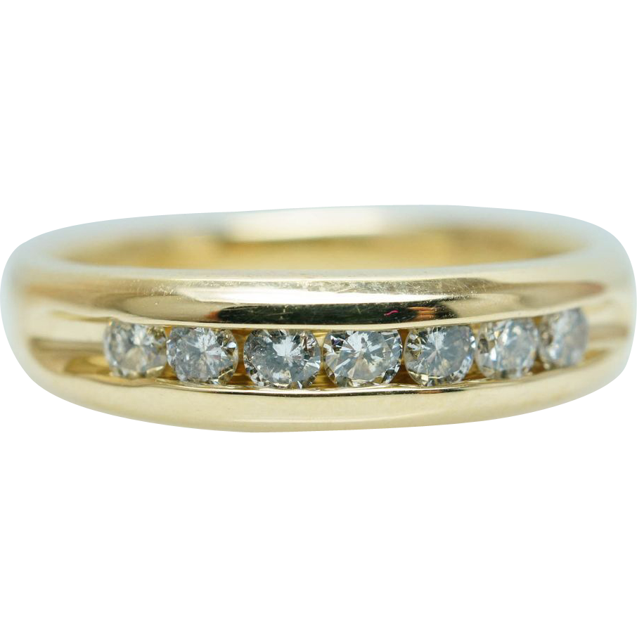 Gents Mens .50ct Diamond Wedding Band Ring 14k Yellow Gold - Size 9.5