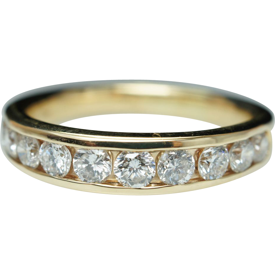 Vintage 96 Mens Diamond Wedding Band 14k Yellow Gold Wedding Ring From Jkjc