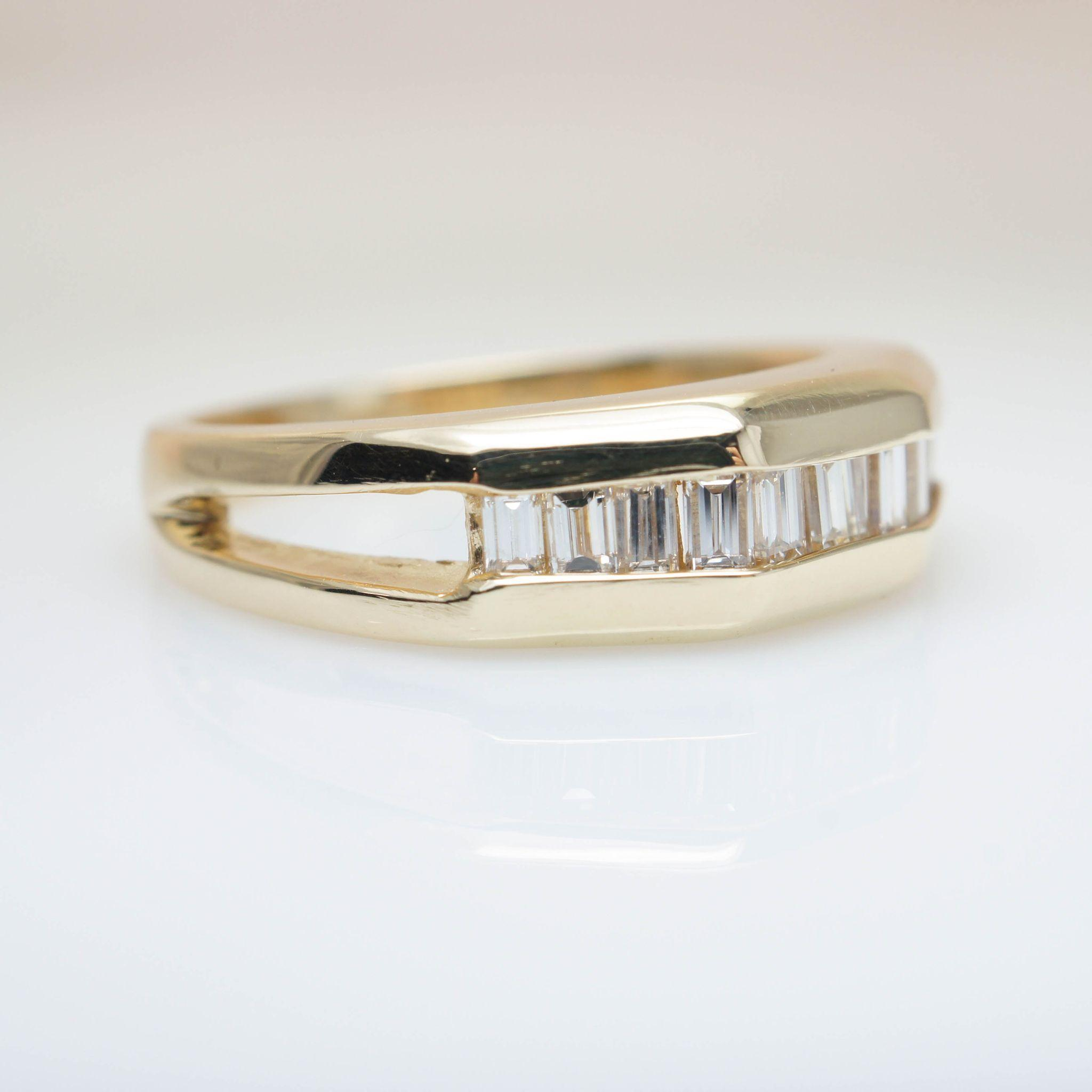 vintage diamond gold band baguette cut diamond ring vintage mens